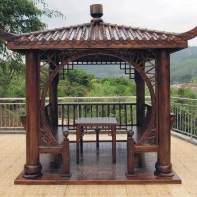 山东济南防腐木碳化木四角凉亭
