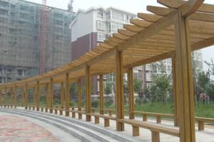 济南槐荫广场防腐木廊架