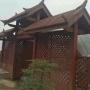 定制户外防腐木碳化木商铺门头老榆木景区大门栅栏门庭院小门拱门
