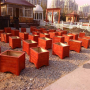 山东济南防腐木花箱长方形木花盆碳化实木户外阳台花槽特大种植箱