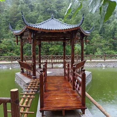 济南防腐木碳化木凉亭廊架