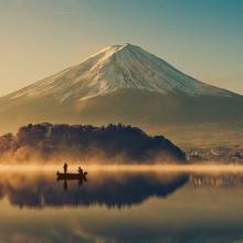 Mount fuji at Lake kawaguchiko,Sunrise , vintage