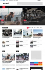 2019年精美浅灰色海蓝色新闻杂志网站模板