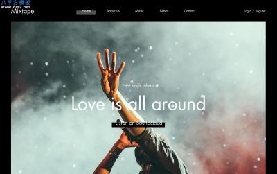 2019年精美湖水绿色玫瑰红色音乐网站模板