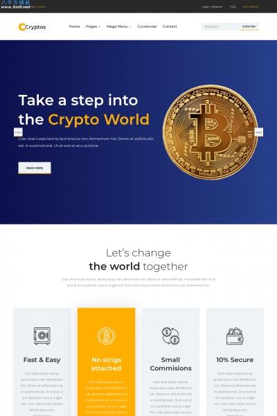 免费源码橘色白色比特币金融网站模板