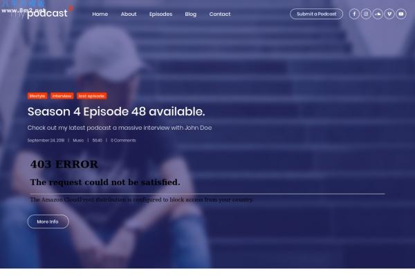 精美bootstrap海蓝色白色电台播客网站模板