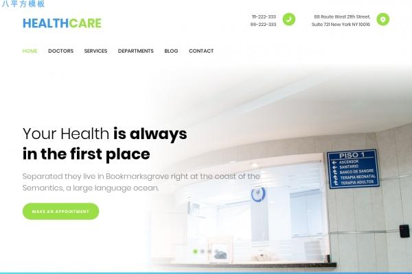 开源精美灰色白色健康护理网站模板