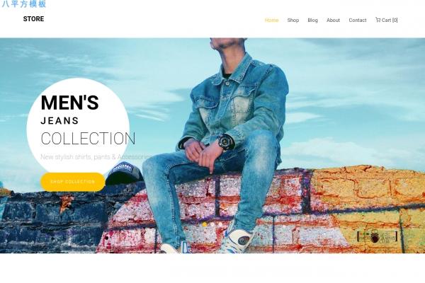 免费2019年湖水绿色白色时装商城网站模板
