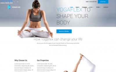 高端HTML5/CSS3湖水绿色白色瑜伽网站模板