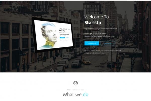 精美亮青色白色多用途响应式着陆页网站模板