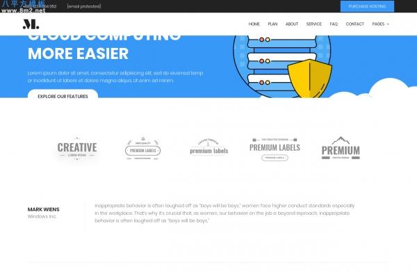大气高端亮青色白色网络托管企业网站模板