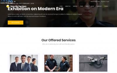 精品bootstrap橘色深绿色安保企业网站模板