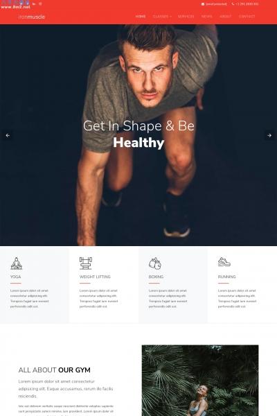 开源bootstrap白色米色健身会所网站模板