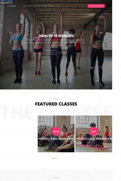 大气HTML5/CSS3白色米色运动健身网站模板