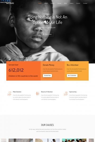 免费高端橘红色橘色非营利慈善整站模板