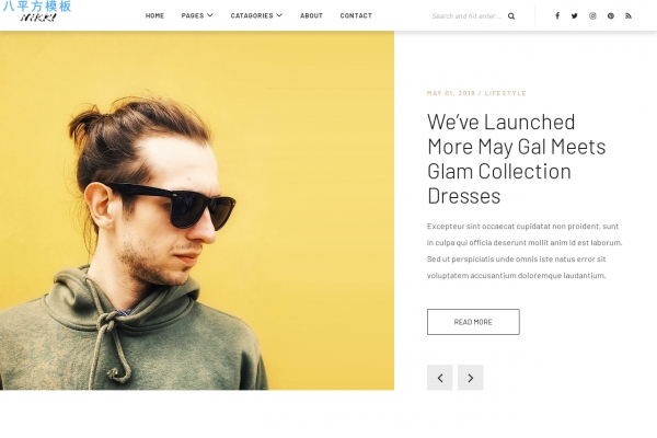 HTML5/CSS3活力红色浅灰色杂志网站模板