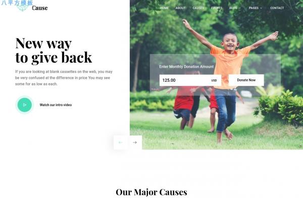 2019海蓝色深绿色非政府组织慈善网站模板
