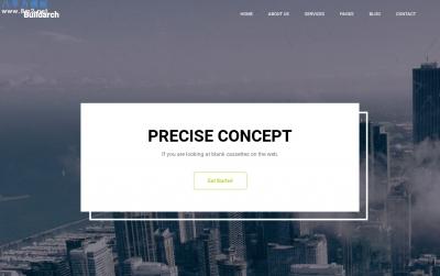 免费大气海蓝色湖水绿色建筑师网站模板