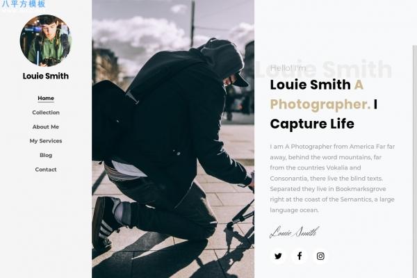 精品HTML5/CSS3深绿色白色摄影师网站模板