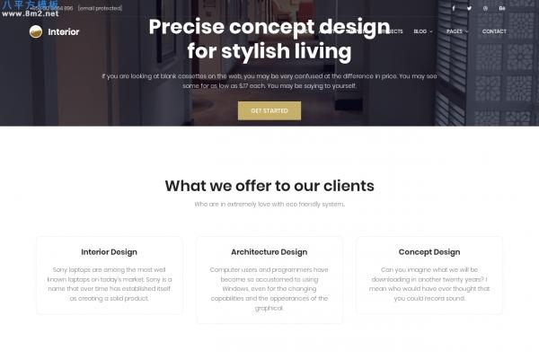 精美bootstrap浅灰色室内设计建筑网站模板