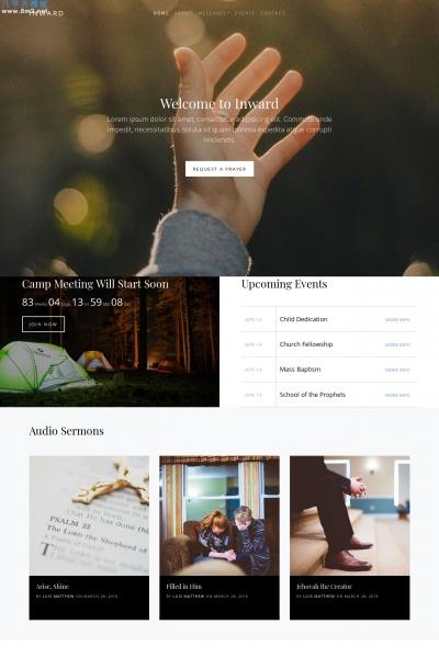 免费高端浅灰色白色简单教会网站模板