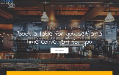 开源精美橘色白色网站餐厅美食网站模板