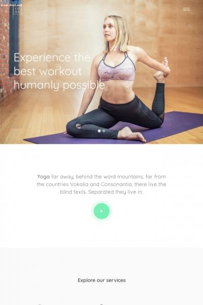 精品bootstrap浅灰色玫瑰红色瑜伽网站模板