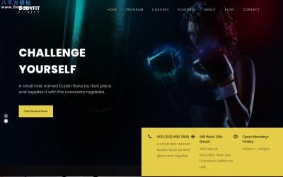 免费响应式深褐色白色健身行业网站模板