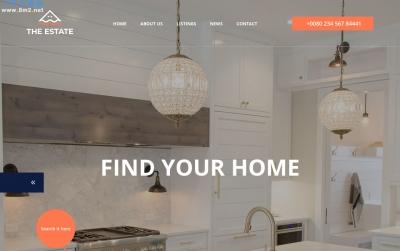 2019年大气海蓝色灰色房地产网站模板