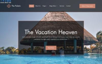 源码HTML5/CSS3湖水绿色灰色酒店网站模板