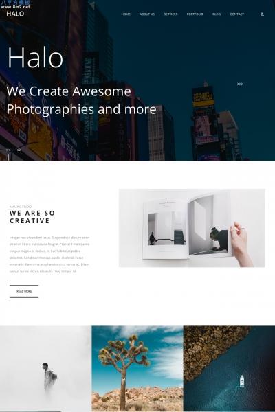 源码高端深绿色白色摄影企业网站模板