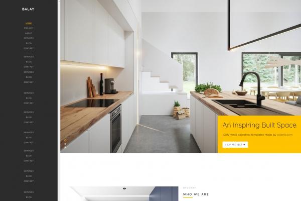 开源响应式浅灰色白色室内设计整站模板