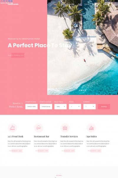 HTML5/CSS3活力红色灰色酒店网站模板