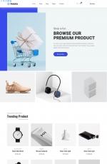2019年海蓝色湖水绿色商城网站模板