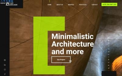 高端响应式浅褐色白色建筑企业模板