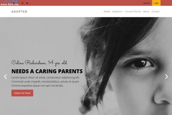 高端浅灰色玫瑰红色儿童领养机构网站模板