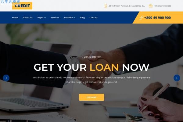 2019年HTML5/CSS3海蓝色金融网站模板