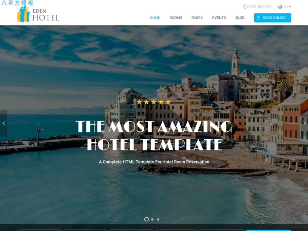 精品PC/手机灰色白色酒店预订网站模板