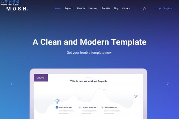 免费开源海蓝色白色创意企业网站模板
