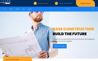 源码HTML5/CSS3青色橘色建筑设计网站模板