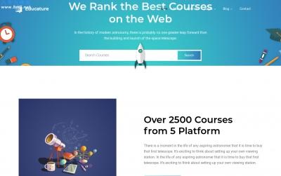 源码大气海蓝色湖水绿色在线课程网站模板
