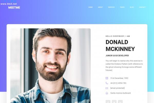 开源bootstrap白色紫罗兰色个人简历网站模板