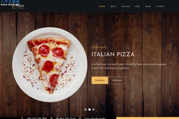 高端bootstrap活力红色白色披萨餐厅网站模板