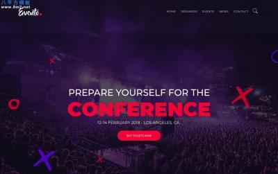 2019年HTML5海蓝色白色会议活动网站模板