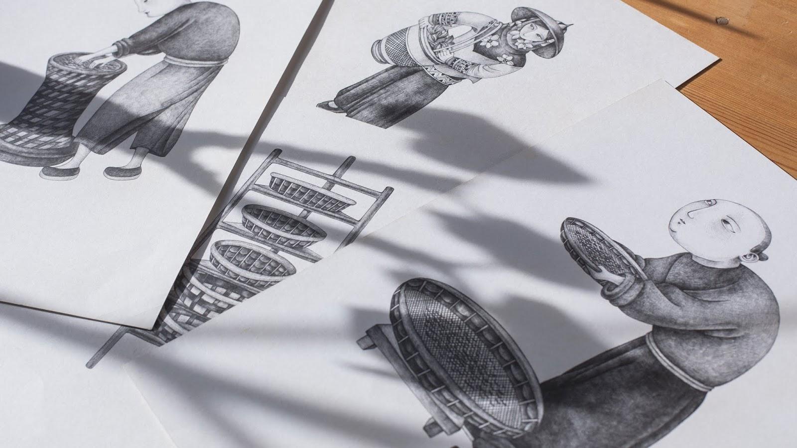 采茶手绘图