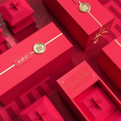 喜庆礼物包装_大红精品盒_茶叶盒