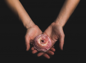 woman holding flower 抱花妇女