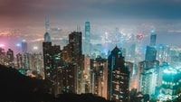 city skyline during night time 夜间城市天际线