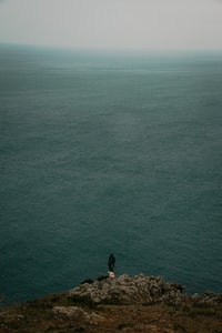 person in black shirt standing on green body of water during daytime 白天穿着黑色衬衫站在绿色水体上的人
