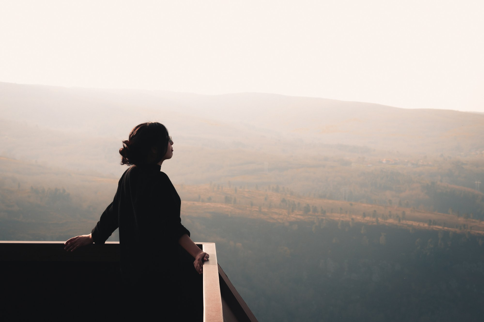 person stands at a lookout and takes in the vista 人站在望风旁,俯瞰景色。